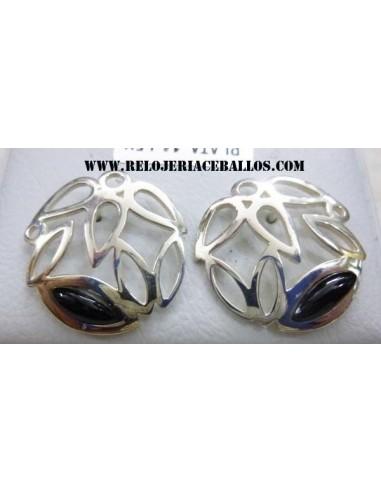 pendiente de azabache y plata T13811