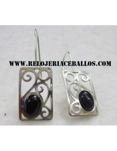 pendiente de azabache y plata  H14463