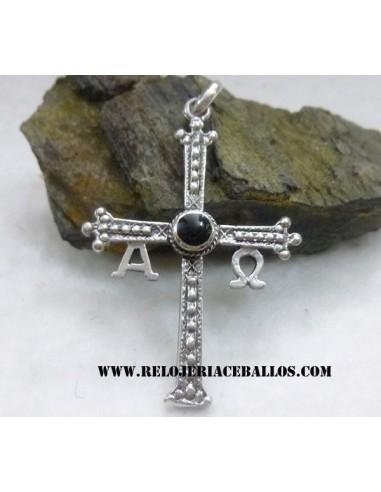 cruz de la victoria con azabache y plata N26