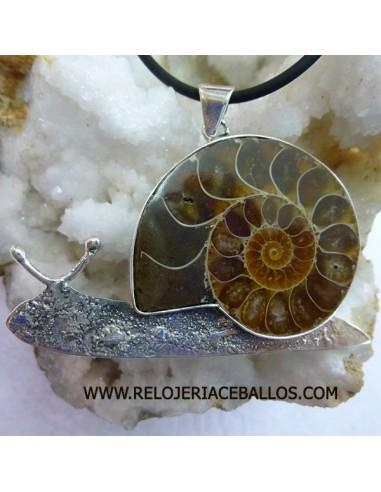 Caracol artesano en plata y ammonite AMM2