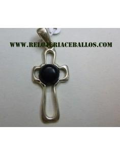 cruz sencilla de plata y azabache  AZR69