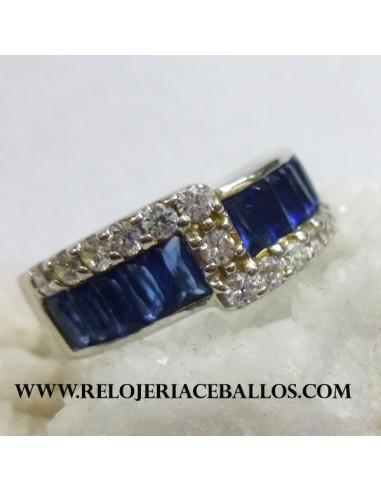 Sortija de plata y zirconitas con piedras azules 4272