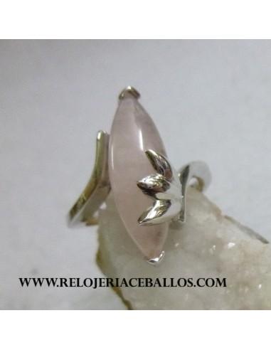 sortija de plata y cuarzo rosa r2381