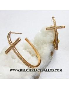 pendiente de plata y cruz 621-0306