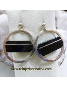 Pendientes de plata con azabache ref P127