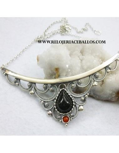 azabache gargantilla de plata h21670