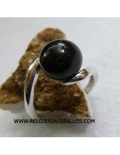 Azabache anillo de plata ref AS1