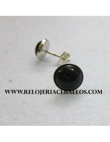 pendiente de azabache y plata  A04022