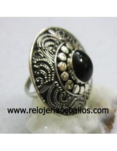 Azabache y sortija de plata con filigrana ref 640-0037