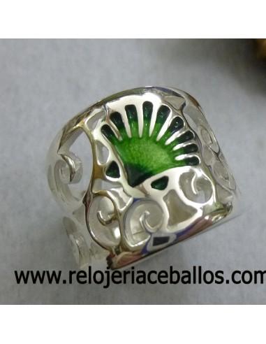 Anillo Plata y esmalte con concha del Camino de Santiago refT11105