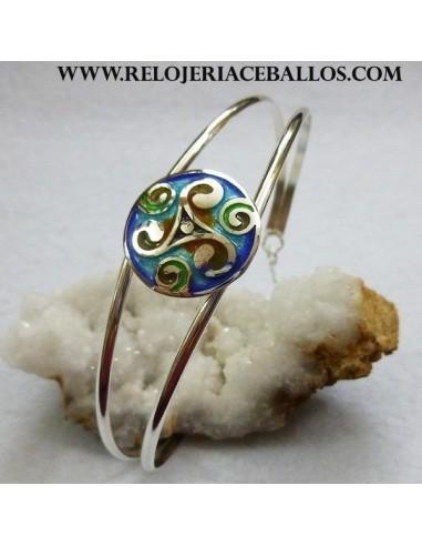 Brazalete de plata con triskel esmaltado ref L12911