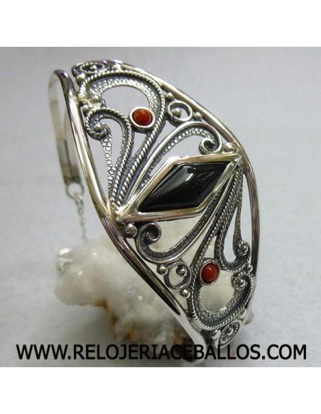 Brazalete de plata con azabache ref H12501