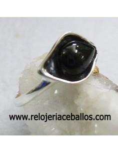 Anillo de azabache y plata ref 640-39