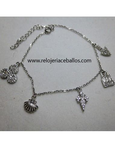 Pulsera de plata con colgantes ref 157-0010