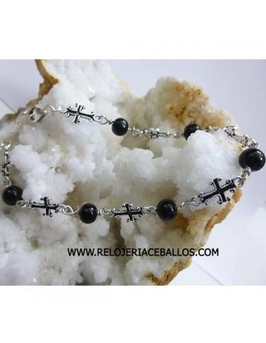 Pulsera de azabache  con cruces ref CRAZ