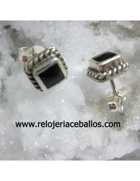 Pendientes de plata con azabache ref PKAZ