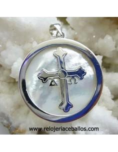 Cruz de la Victoria en plata sobre nácar ref 78656