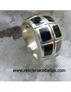 Sortija de plata con azabache ref  A-9