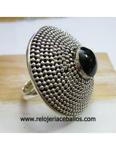 Sortija de azabache y plata ref 640-36
