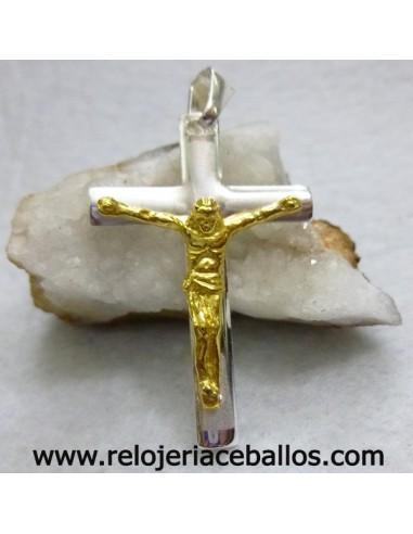 Crucifijo en plata y chapado ref CNI111