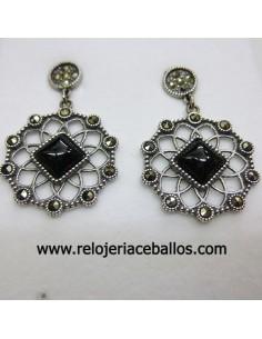 Pendientes de plata con azabache y marquesitas 569
