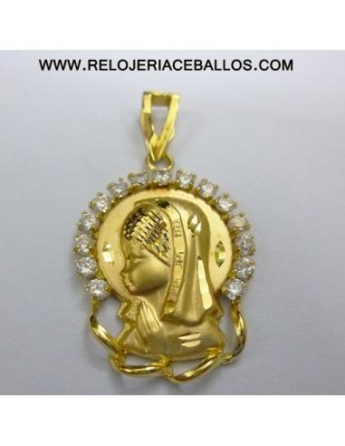 Virgen Niña con zirconitas en oro ref 1U17A