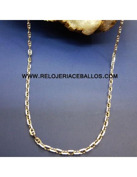Cadena  oro blanco eslabón barco ref 1T45