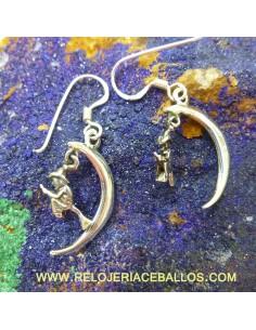 Pendientes con luna y bruja 120-0001
