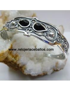 Brazalete de plata con Azabache y filigrana T125033