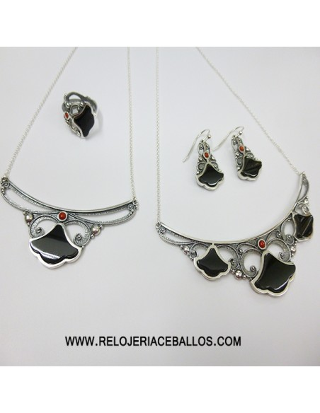Azabache pendientes de plata con filigrana T135025