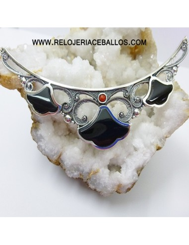 Gargantilla  de plata con azabache T215020