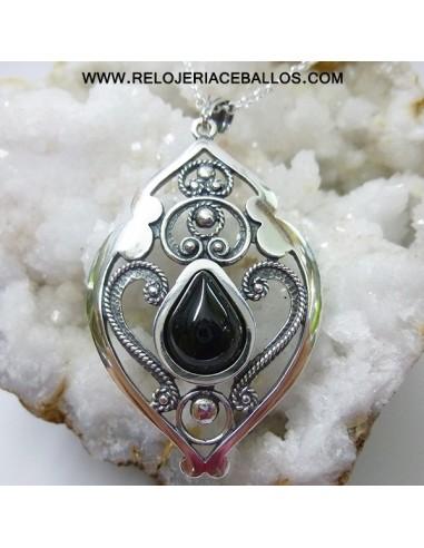 Colgante de plata con azabache y filigrana T025022