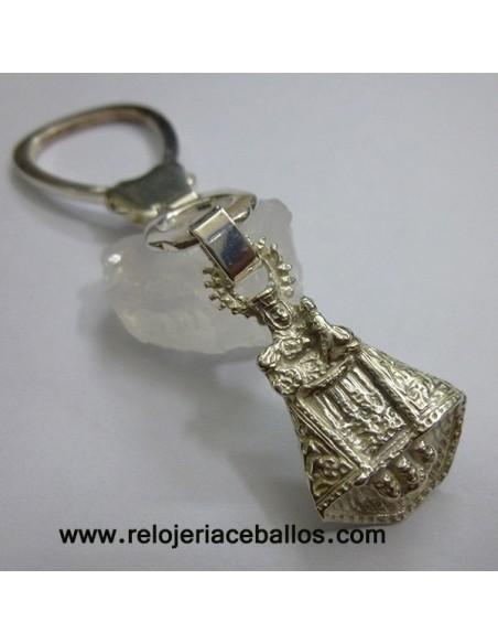 Llavero con Virgen de Covadonga de plata AQ22