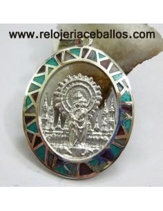 Medalla del Pilar de plata de ley y esmalte VPI11M