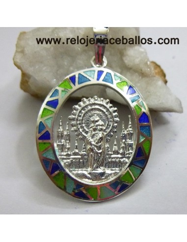 Medalla del Pilar de plata de ley y esmalte VPI12