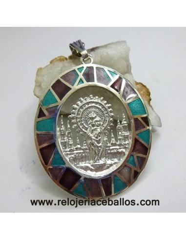 Medalla del Pilar de plata de ley y esmalte VPF13