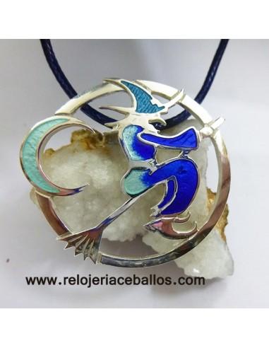 Bruja colgante de plata y esmalte 2EF075N