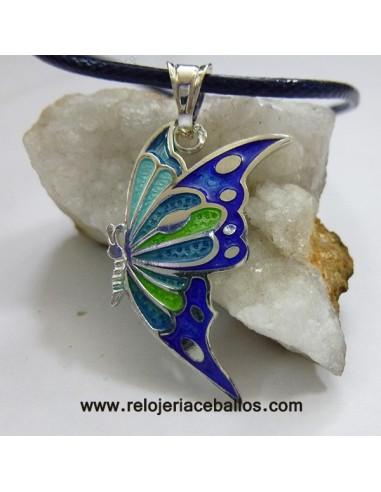 Mariposa colgante de plata y esmalte RH181037A