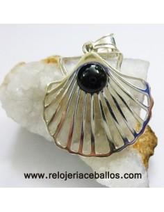 Vieira de plata con azabache  R980