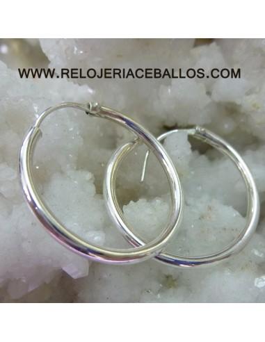 Pendientes de aro medianos en plata 162514