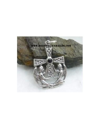 Cruz de los Angeles de plata y azabache R8