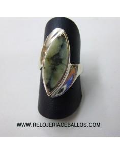 Sortija de plata con quiastolita de Asturias QB14