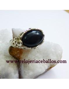 Azabache anillo de plata STA
