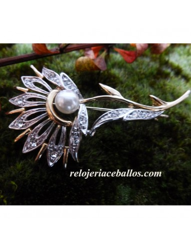 Broche Chapado con Perla y Piedras