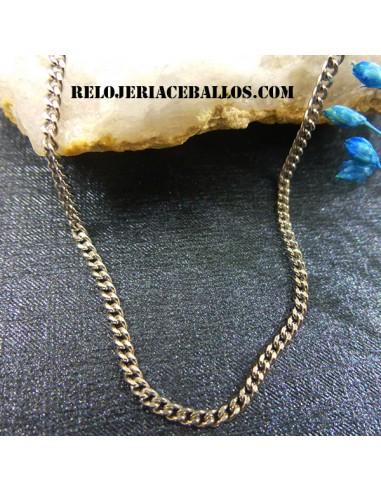 Cadena Barbada con Baño de Rodio 711A16/40