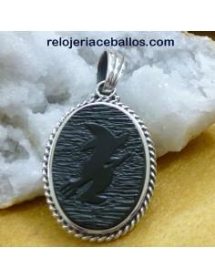 Bruja en Azabache Colgante de plata BR29
