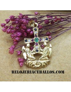 Cruz de los Ángeles con Pedrería en Oro ref.495