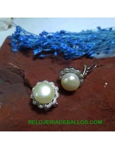Pendiente de perla y pedrería 41724