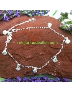 Conchas Tobillera de plata 363-24