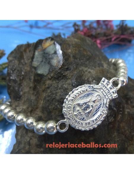 Pulsera de plata con bolas y Medalla reversible
